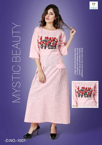 Stitched Designer Embroidery Cotton Long Kurtis