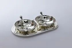 Silver Plated Tray with Bowls and Spoons