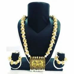 Antique Artificial Pearl Beads Necklace With Earring Set