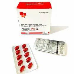 Soft Gel Capsules Anumix Plus Lycopene Grape Seed Extract Antioxidant Capsules, for Hospital