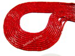 Red Coral Pipe Shape Beads