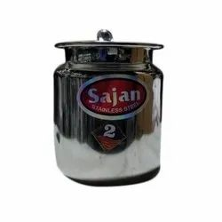 Round Sajan Stainless Steel Pot, Thickness: 3-4 mm, Steel Grade: SS304 L