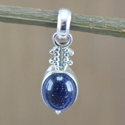 925 Sterling Silver Handmade Jewelry Blue Sun Sitara Gemstone Fine Pendant