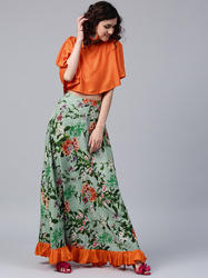 PRINTED SKIRT WITH SOLID CROP TOP