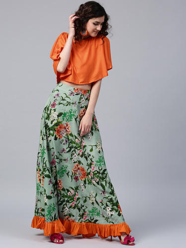 3f045f02d04bbb Rayon Round Neck Printed Skirt With Solid Crop Top