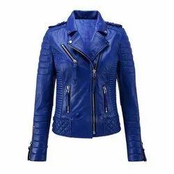 Casual Wear Full Sleeve Lambskin Blue Jacket