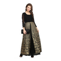 Black Designer Long Kurti With Skirt