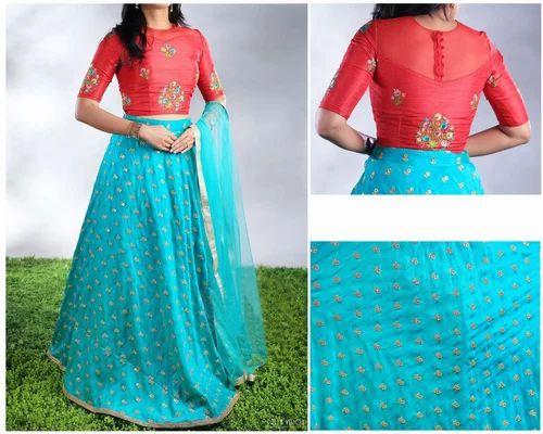 047f92df0e0208 Banarasi Silk Sequence Work Sky Blue and Red Embroidered Designer Lehenga  Choli