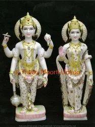 Marble Vishnu Laxmi Standing Statue