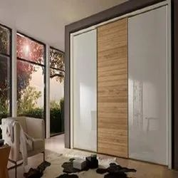 Wooden And Glass Wardrobe