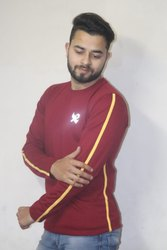 Maroon with Yellow Full Sleeve T Shirt