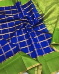 Silk Party Wear Check Pattu Saree, Construction Type: Machine