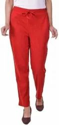 Plain Red Cotton Pants, Waist Size: Up to 34