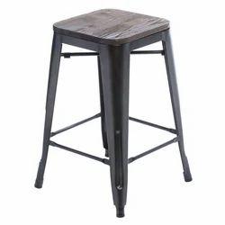 Industrial Vintage Wood Seat Bar Stool