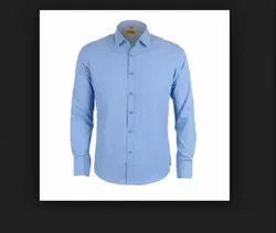 Formal Wear Regular Fit Men Blue Plain Cotton Shirt