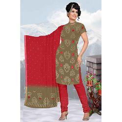 Red Print Bandhani Suit
