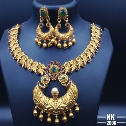 Matte Finish Copper Jewellery Set - NK 2280