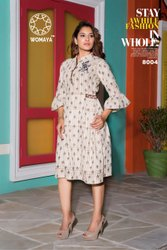 Casual Wear A-Line Womaya Cotton Linen Casual Printed Kurti with Embroidery