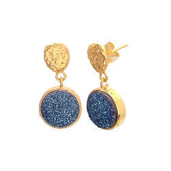 Blue Druzy Model Gemstone Druzy Small Earring Party Wear Gorgeous Model Jewelry