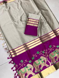 Embroidery Work Cotton Saree