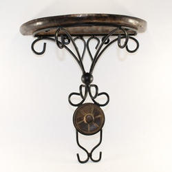Wrought Iron And Wooden Decorative Wall Bracket, Size/Dimension: 12 Inch