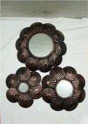 Bronze. Iron 3 Wall Mirror, Mirror Shape: Round