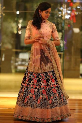 a85069a92f Indian Ethnic Designer Ruby Silk Blue Bridal Wear Lehenga Choli at ...