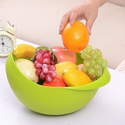 SparkTiney Green Fruits Bowl, Size: 21x21x12 cm