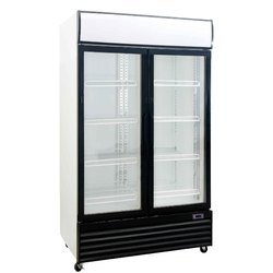 Silver Cold Square Commercial Double Glass Door Refrigerator, Capacity: 600L