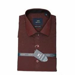 Micro Formal Wear Mens Brown Plain Shirt, Packaging Type: Packet, Size: 38