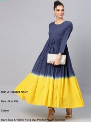Navy Blue & Yellow Tie & Dye Printed Flared Anarkali