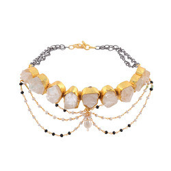 Choker Design Rutilated Stone Women Gold Plated Necklace