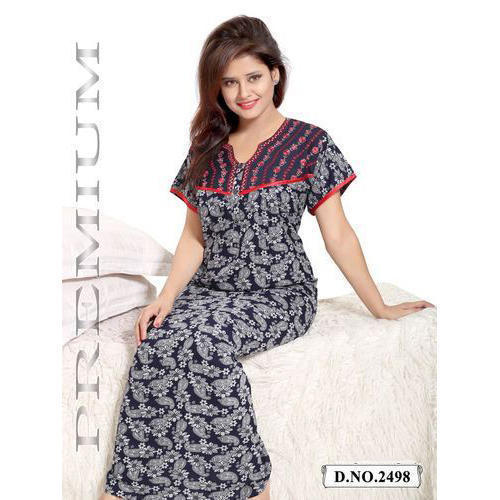 Medium And Large Ladies Cotton Designer Nighty ce9cfc9cc