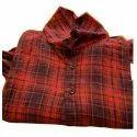 Mens Red Check Print Cotton Shirt