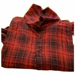 Casual Wear Checks Mens Red Check Print Cotton Shirt, Machine wash
