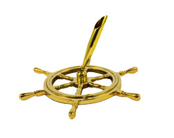 Solid Brass Ship Wheel Pen Holder