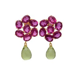 Green Amethyst And Pink Tourmaline Hydro Drop Earring