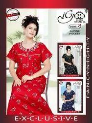 Printed Cotton Nightwear Gown For Women