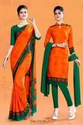 Faux Georgette Namo Saree And Salwar Kameez Combo  (Bjp Saree Salwar Combo)
