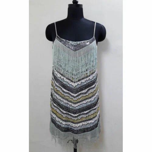 Embellished Fringe Cocktail Dress