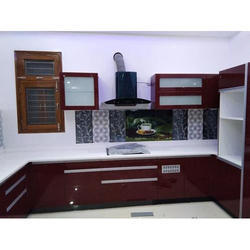 U Shaped Polished Modular Kitchen