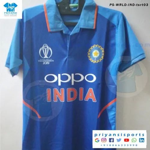 sports politer fabric half sleeve icc cricket world cup 2019 team india jersey size
