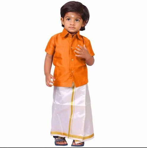 8205aa79f05a Kaatru Boys Shirt & Dhoti Set Orange, Children Dhoti Kurta ...