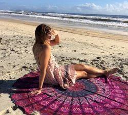 Wholesale Best Price Printed Tassel Fouta Promotional Round Mandala Beach Towels