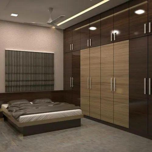 Wooden Brown Modular Bedroom Furniture, Wood And Steel Bedroom Furniture