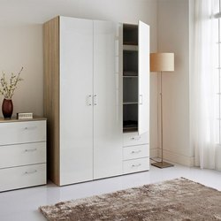 White Designer Wooden Almirah