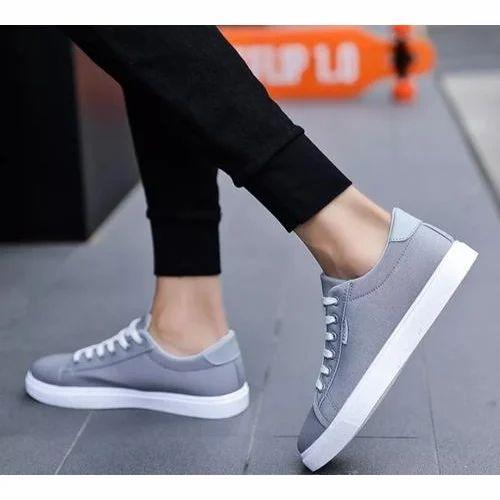 Well Feet Grey Mens Plain Canvas Casual