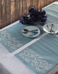 Steel Blue Leaves Pattern Rectangular Shape Table Mats