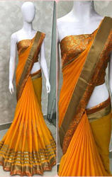 Georgette With Heavy Border Yellow Saree
