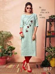 Exuberant Khadi Cotton Embroidered Casual Wear Kurti